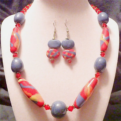 red, yellow and blue splash necklace or earrings