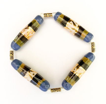 blue, green and cream with gold bracelet
