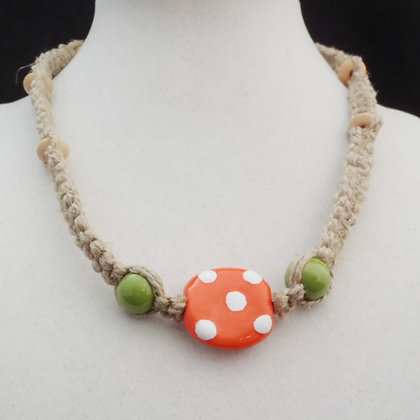 orange dot and green macrame necklace
