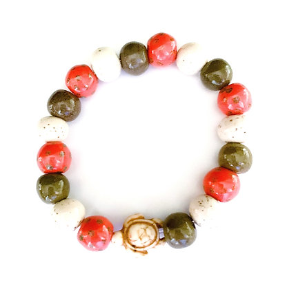 orange, brown and cream with turtle stackable bracelet