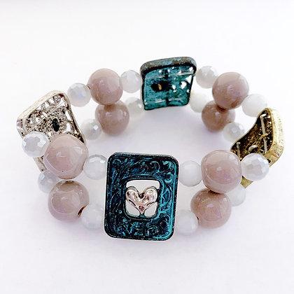 gray, white & blue cross & heart bracelet