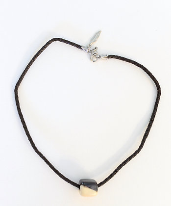 brown and cream with brown leather choker