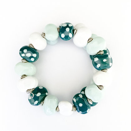 shades of green with white wrap bracelet