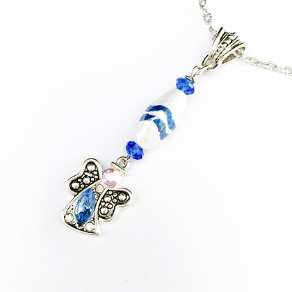 blue and white with angel necklace