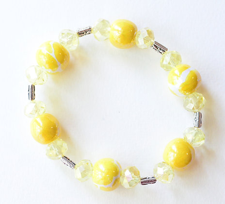 yellow and white giraffe pattern bracelet