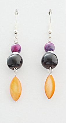 purple, black and orange earrings