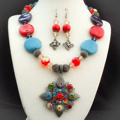 mardi gras colorful necklace or earrings