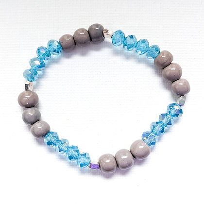 gray and turquoise stackable bracelet