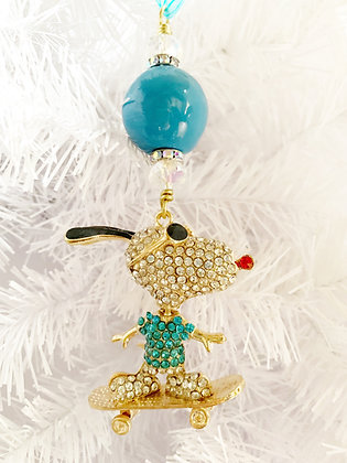 skateboarding snoopy ornament