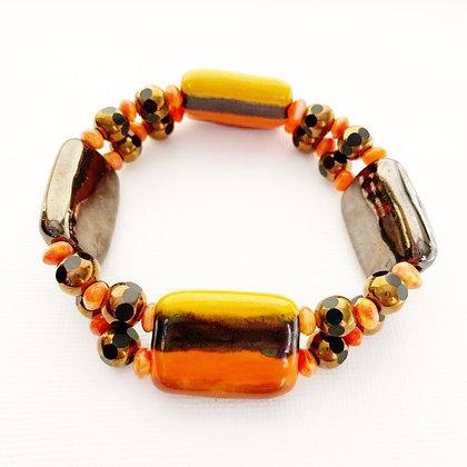 brown, red, yellow stripe bracelet