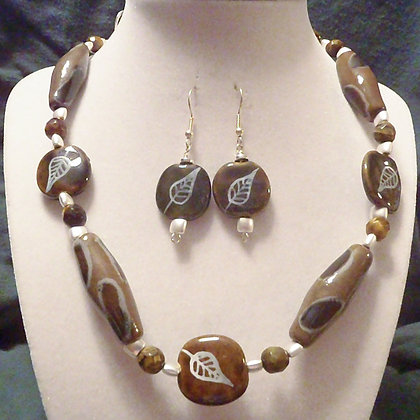 brown with leaf pattern necklace or earrings
