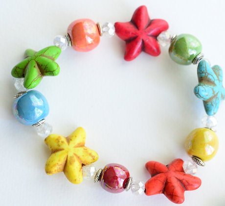 multicolor bright starfish bracelet