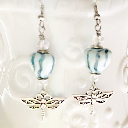 mint green striped earrings with dragonfly