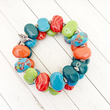 wrap bracelet - blue, green, orange with hummingbird