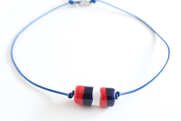 red, white & blue with blue leather choker
