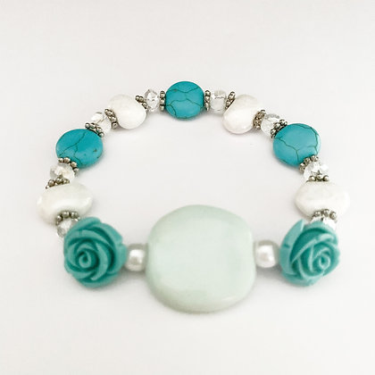 mint and white with roses bracelet