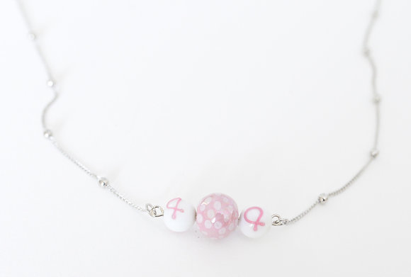 pink and white ribbon necklace