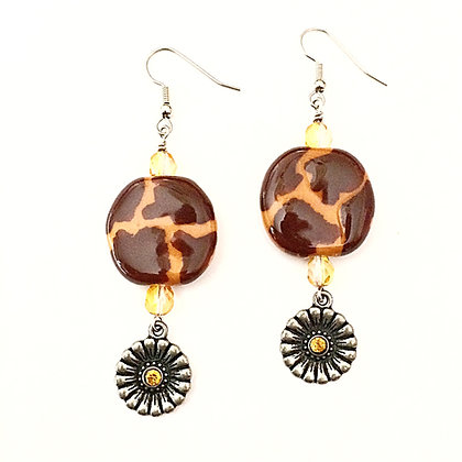 brown giraffe print earrings