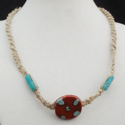 brown with blue dots macrame necklace