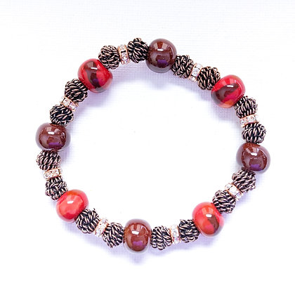 red and brown stackable bracelet