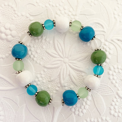 blue, green, white round ball bracelet