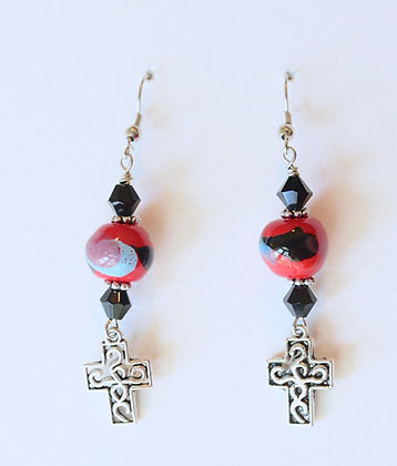 earrings - red and black with cross