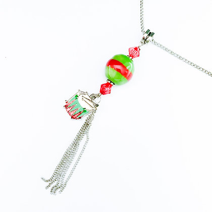 green and red with drum necklace