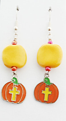 yellow and orange cross earrings
