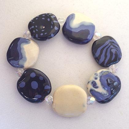 blue and cream budget bracelet