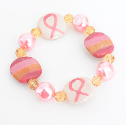 pink, cream & amber ribbon bracelet & earring set