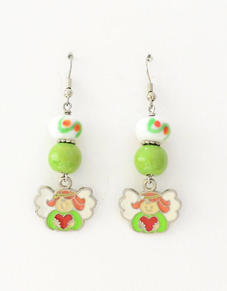 green & white earrings with Christmas angel
