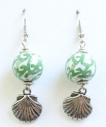 mint green and green earrings