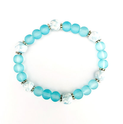 white with turquoise stackable bracelet