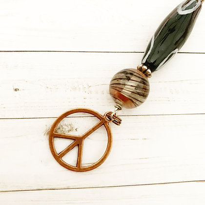black and white with copper key chain