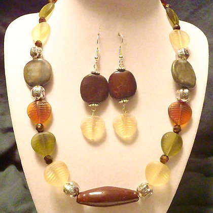 green and brown leaf necklace or earrings