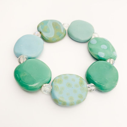 blue and green assorted patterns budget bracelet