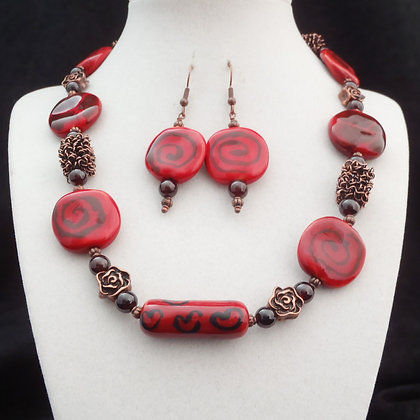 romantic red with roses necklace or earrings