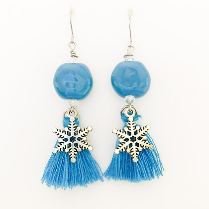 blue with tassel snowflake earrings