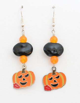 black and orange jack-o-lantern earrings