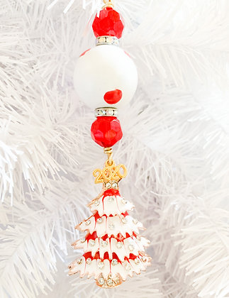 red and white with holiday tree ornament
