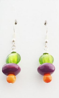green, purple and orange earrings