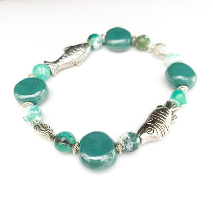 teal green fish bracelet