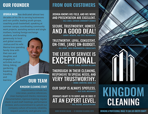 Kingdom Cleaning brochure outside (no bo