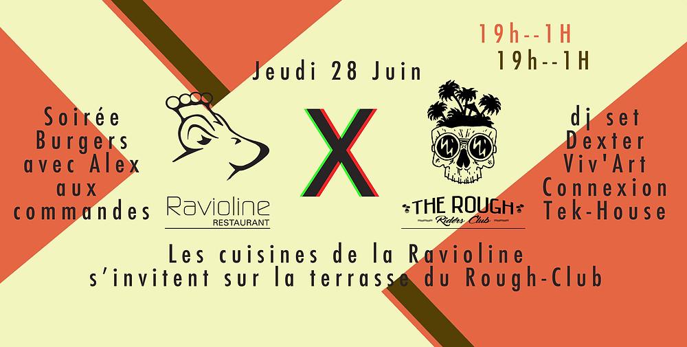 Le Rough-Club reçoit la Ravioline en mode cooking, mix open-air ! Venez déguster les Burgers d'Alex, sur fond de deep-house et de couché de soleil !!!