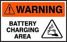 Warning Safety Signs - Battery Charging Area