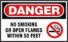 Danger Safety Signs - No Smoke Open Flame