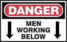 Danger Safety Sign - men working below
