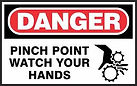 Danger Safety Sign - pinch point - watch your hands