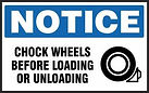 Notice Safety Sign - Chock wheels Before Loading or Unloading