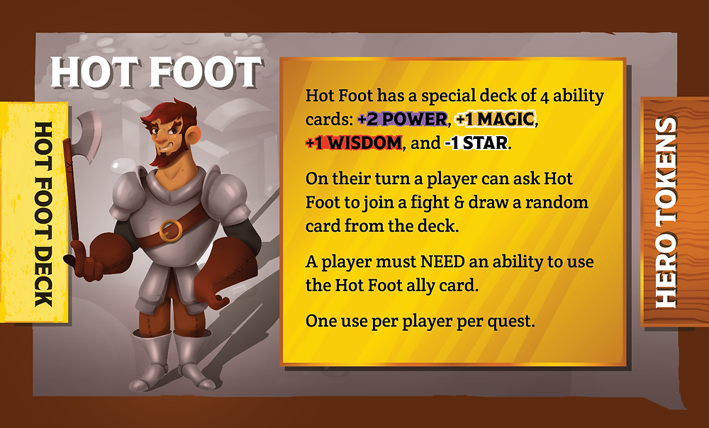 The Quest Kids Board Game - Hot Foot Ally Card Back